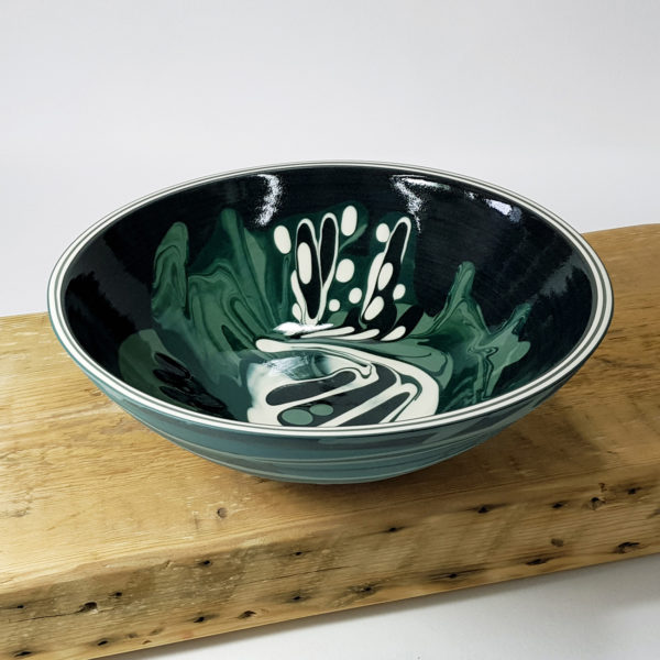 Peacock Green Woodland Inspired Ceramic Low Centre Bowl