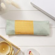Silk eye pillow in yellow and mint silk fabric