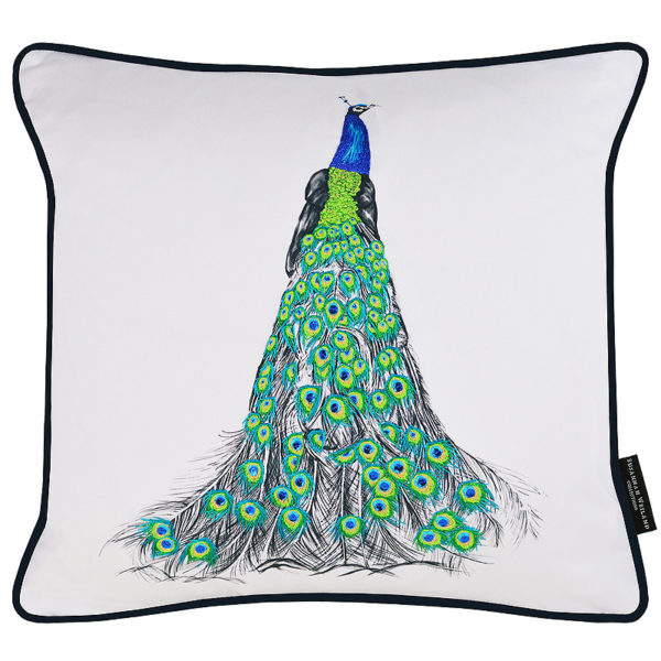 Hand embroidered peacock cushion