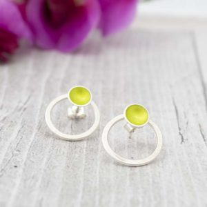 Halo Interchangeable Hoop Studs - Lime