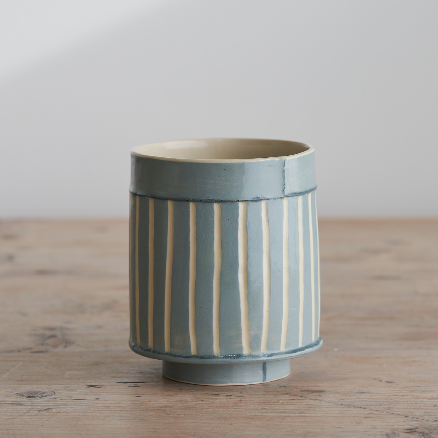 Emily-Kriste Wilcox, small vessel in blue stripe with navy joins, Pattern & Surface