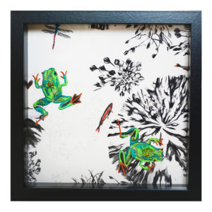Finn and Ford The Frogs Hand Embroidered and Beaded Artwork