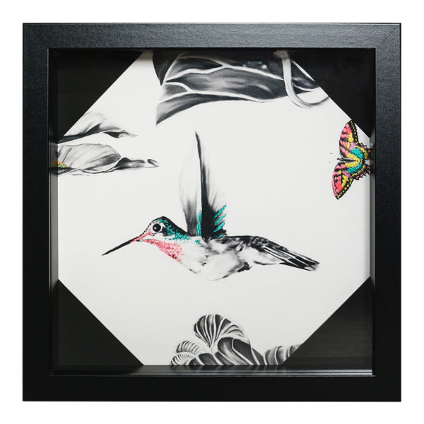 Harper The Hummingbird Hand Embroidered and Beaded Artwork