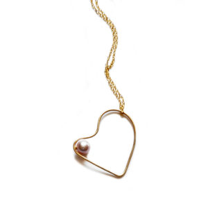 Silhouette gold heart pendant with blush pearl