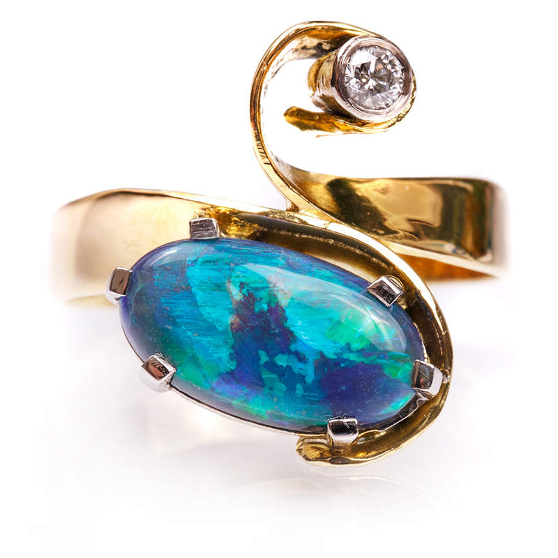 18ct yellow gold black Opal and Diamond ring