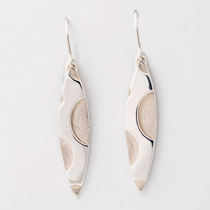 Long solid silver earrings