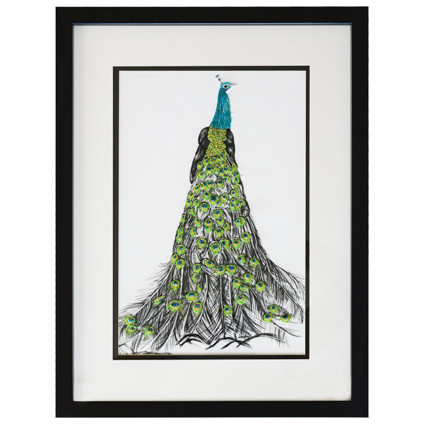 Ramsey The Peacock Hand Embroidered and Beaded Artwork