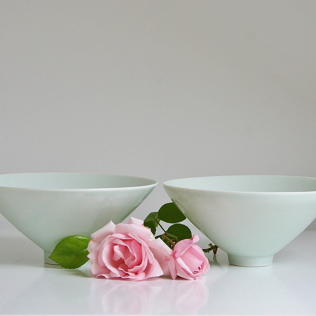 pair of porcelain celadon bowls
