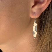 Long solid silver blackened and mat earrings