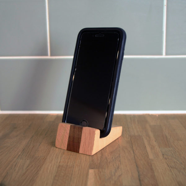 oak and walnut wooden phone stand