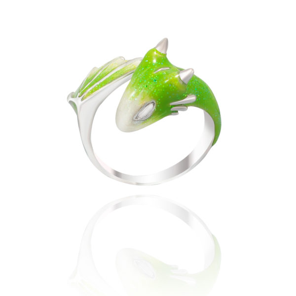 Baby Silver Peridot Dragon Ring_Monvatoo
