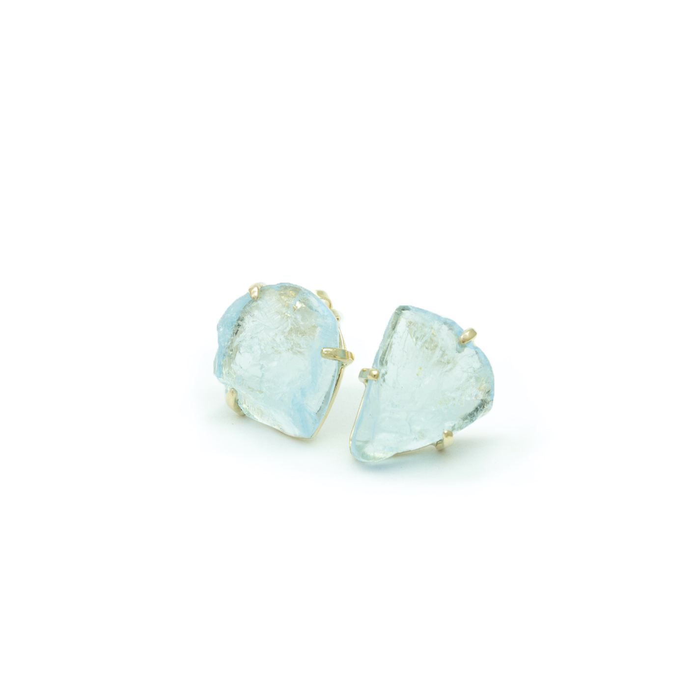 Gold studs with rough Swiss Topaz