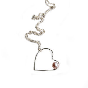 Silhouette asymmetric silver heart pendant with pearl