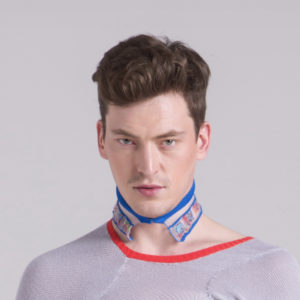 knitted collar blue