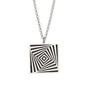 Silver square necklace hanging