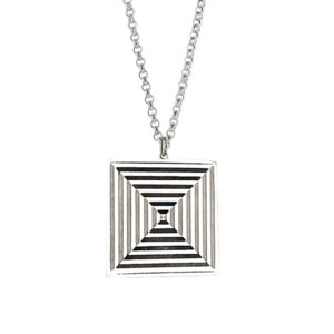 Silver Square necklace with geometric pattern