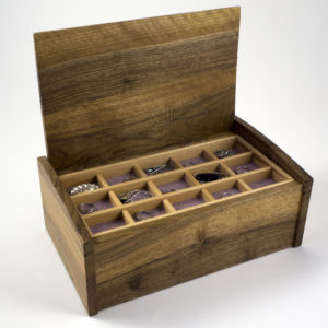 English walnut curved lid jewellery box