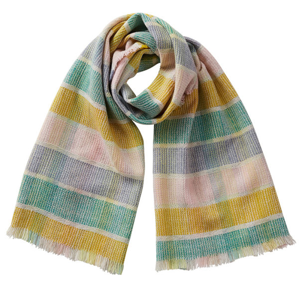 Cut out image of a merino wool scarf. The colours are turmeric yellow, jade green, pale blue and pale pink.