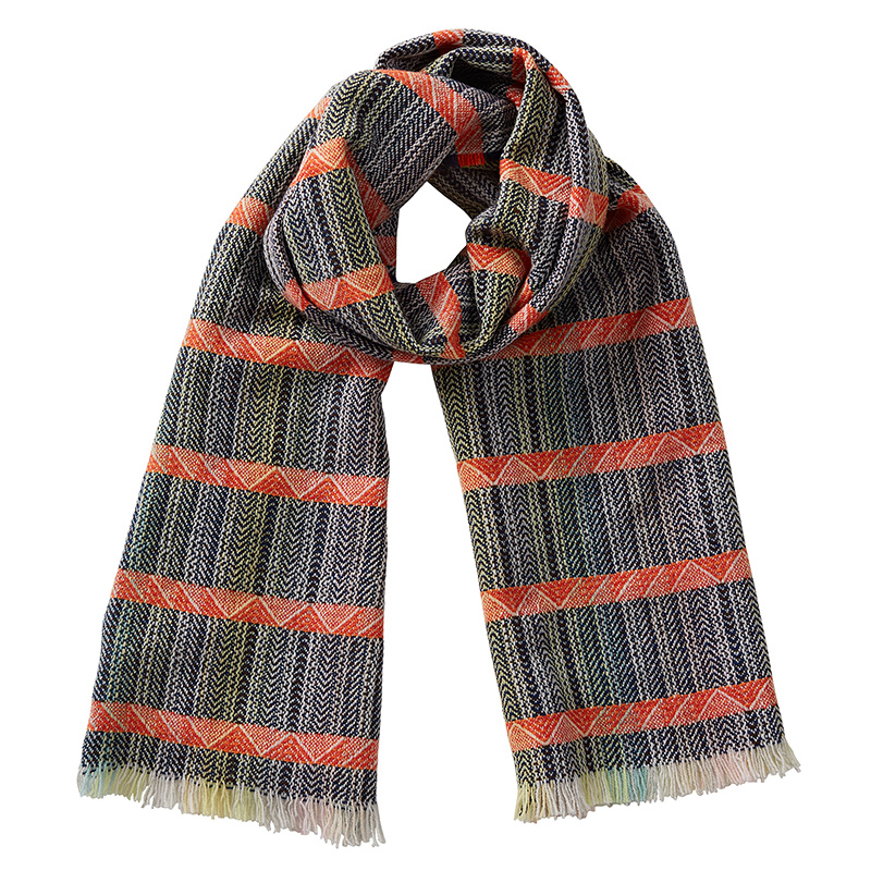Cut out image of a merino wool scarf. The colours are navy blue with an orange horizontal stripe
