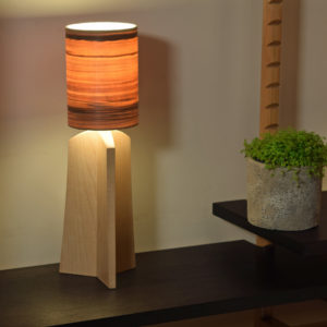 Table lamp in maple. Red Gum shade.