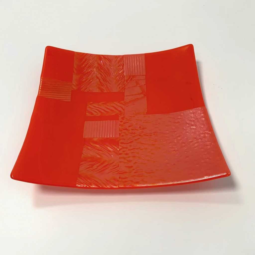 Patchwork Lustre Orange Opaque Large Square Fused Glass Plate Handmade In Britain