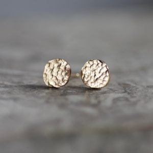 Hammered 9ct Gold Earrings