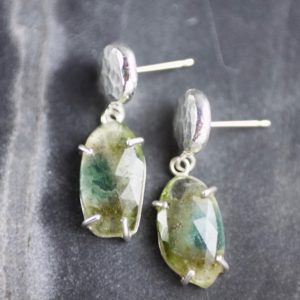 Green Tourmaline Silver Drop Earrings