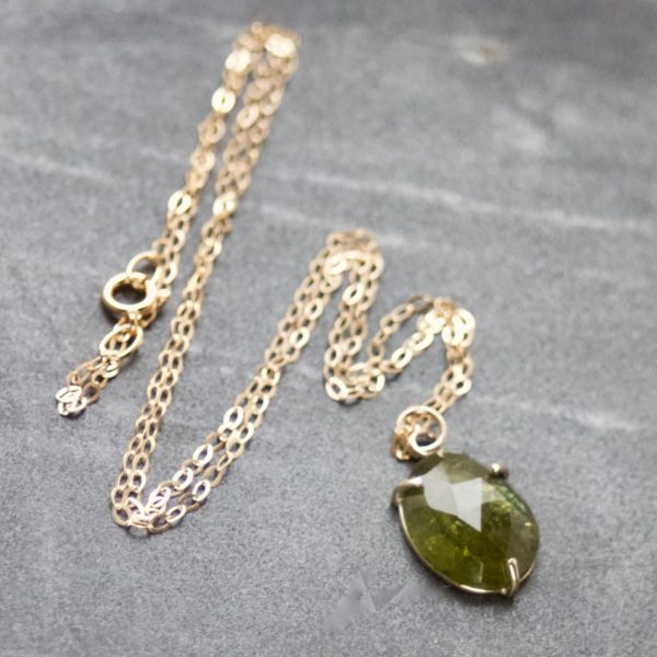 Olive Green Tourmaline & Gold Necklace