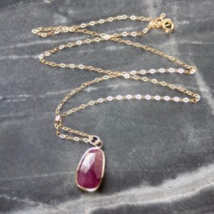 Freeform Ruby, Gold & Silver Pendant Necklace