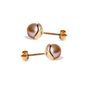 Silhouette studs 9ct gold and pink pearl