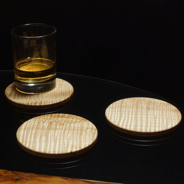 Drinks coaster in rippled sycamore