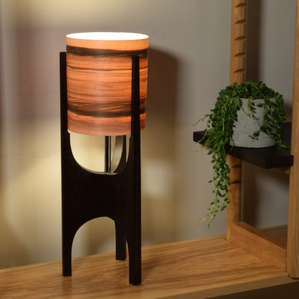 Table lamp in ebonised recycled mahogany