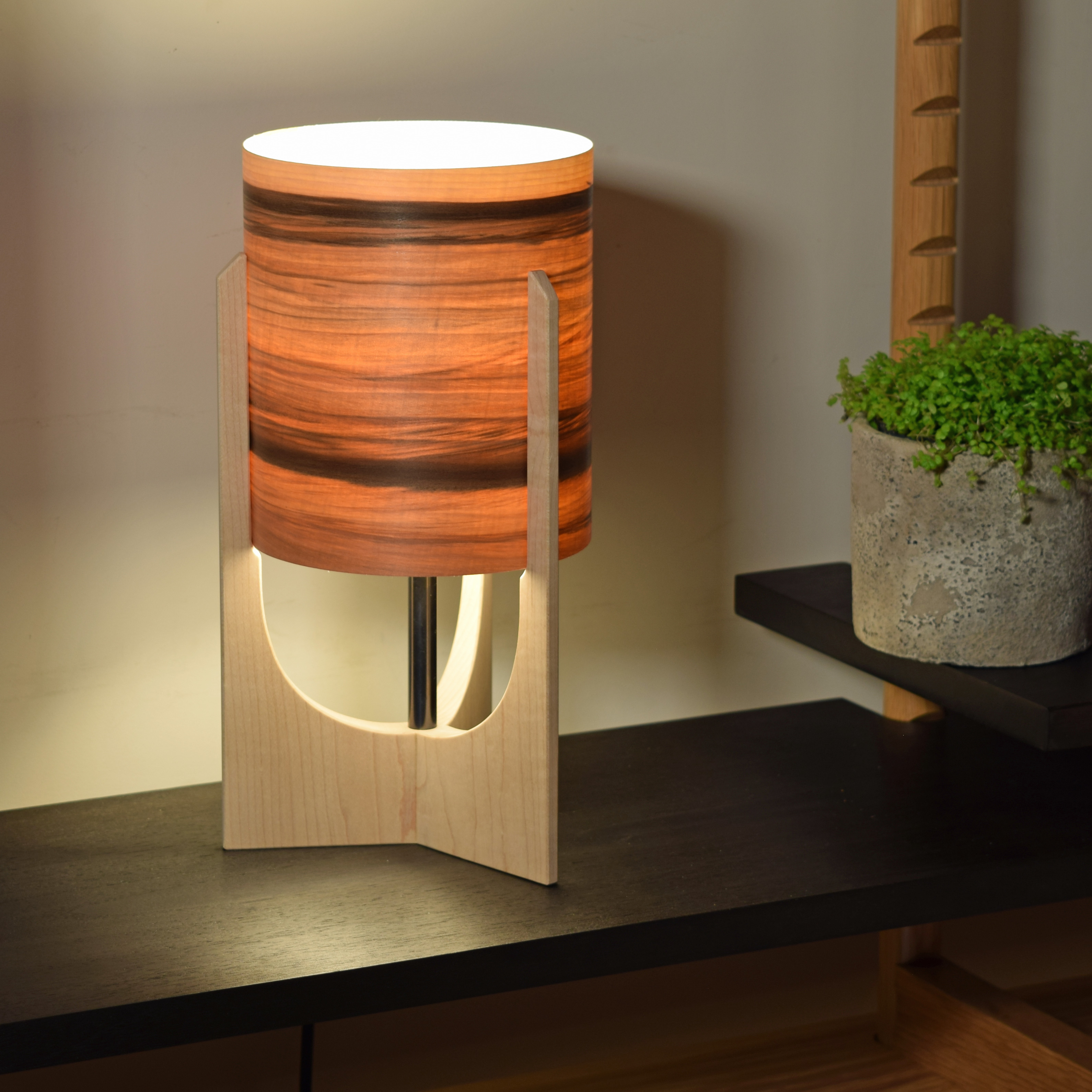 Red Gum shade, lamp on.