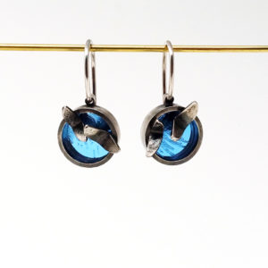 small blue drop earrings from front