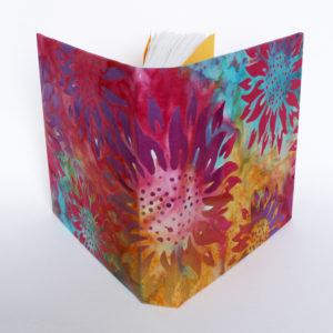 square sketchbook with batik covers