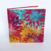 Front of square sketchbook with batik cover
