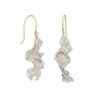 Silver drop earrings in the form of a curly ribbon of natural seaweed.