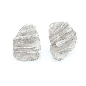 Large statement silver stud earrings. contemporary design by emily Nixon, crafted in Cornwall
