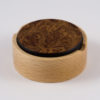 Small round wooden lift off lid trinket box