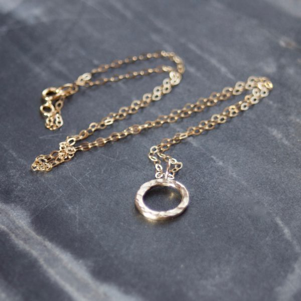 Solid Gold Halo Necklace