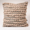 Cassandra Sabo's handwoven Merino wool square 'Burrows' cushion from her Forest Collection