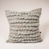 Cassandra Sabo's handwoven wool, square 'Burrows' cushion from her Forest Collection