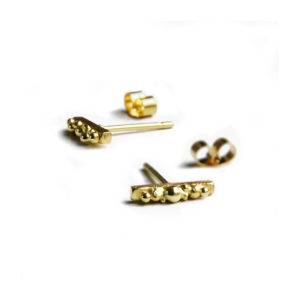 ORB solid gold granulated bar studs