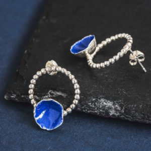 Silverkupe-Blue Studs on Hoops