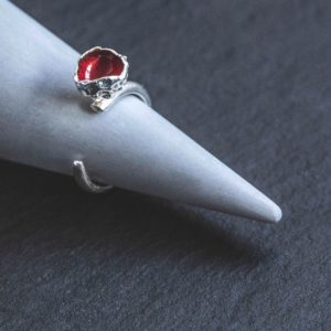 Silverkupe Red Seed Ring