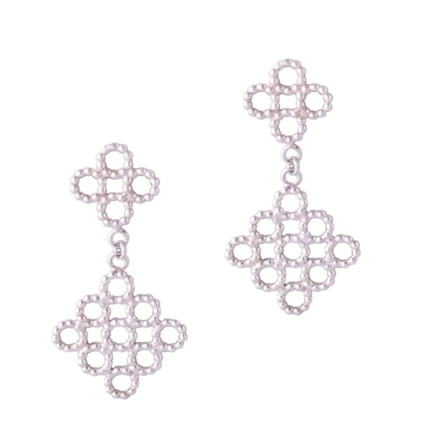 Silver Beaded Quatrefoil Dangle Earrings - view from the front - on white background