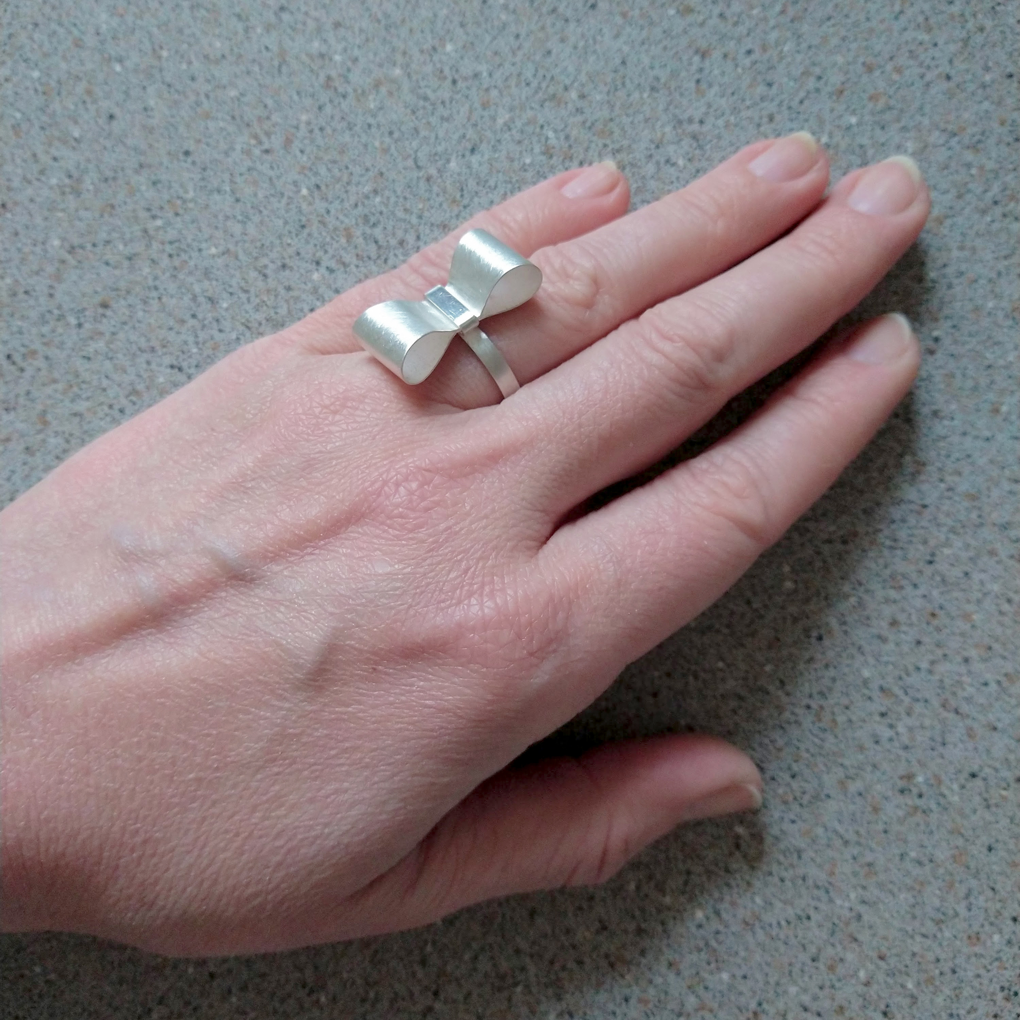 Silver Bowknot Ring - Silver Ring shown worn