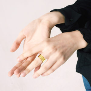 18k Yellow Gold Semainier Ring - on model