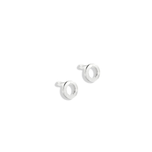Silver Nought Stud Earrings - on white background