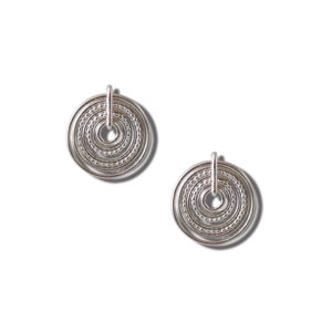 Silver Semainier Stud Earrings - on white background